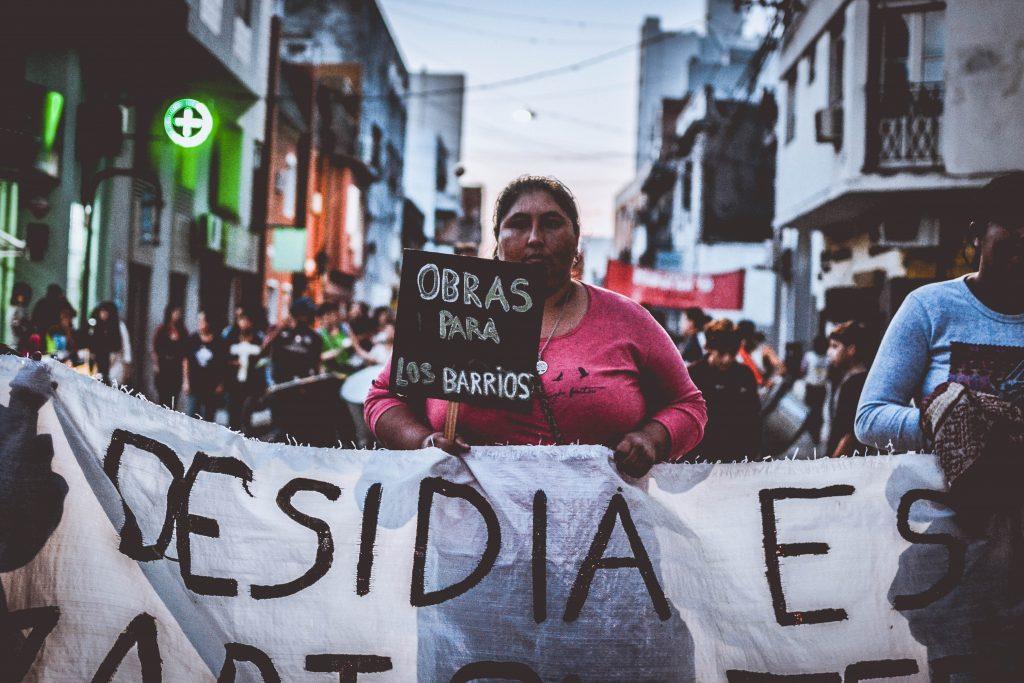imagen de protesta de Vaca Muerta en 2021